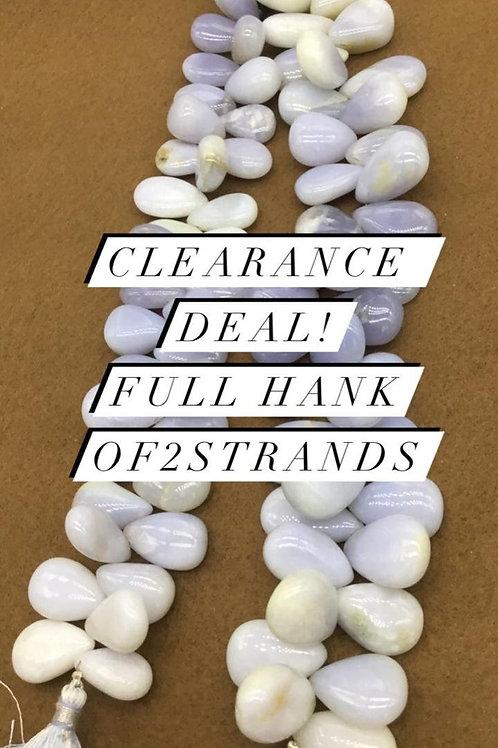 Closeout Sale price Chalcedony Plain Almond 2strands full hank wholesale