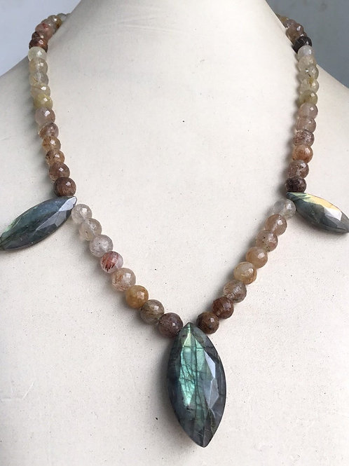 "Rutile Labradorite fushion Jewellery Gemstone Necklace 19"" 202carats"