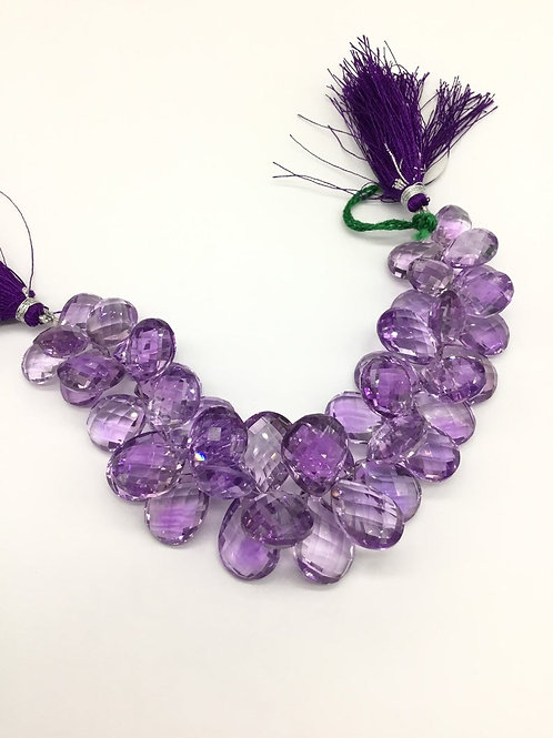 Amethyst Faceted Pear Gemstone Necklace Good Colour Fine Quality 6inch 380carats