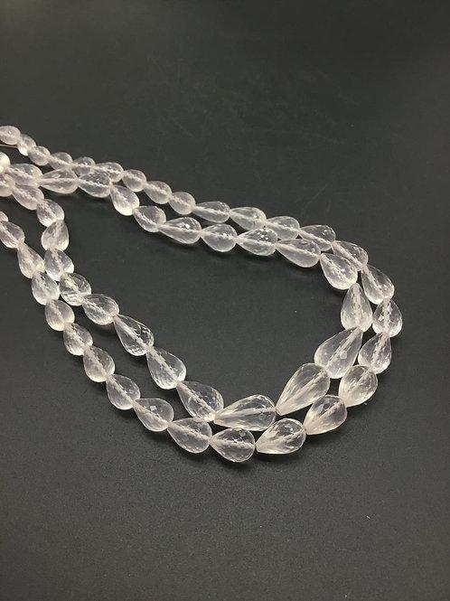 Rose Quartz Drops Natural Gemstone necklace 1 Strand Quartz Drops