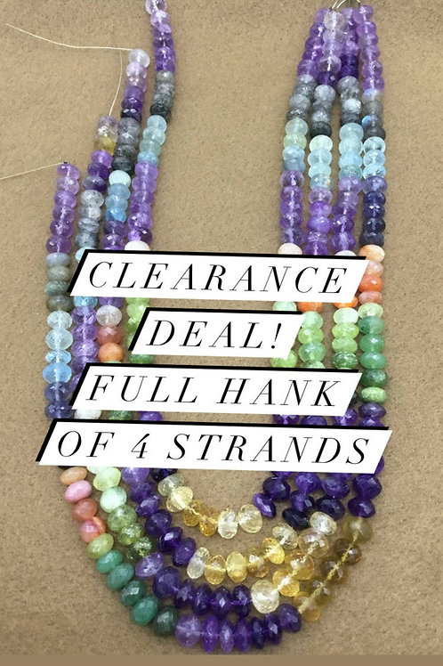 Closeout Sale price Semi multi Faceted Beads 5 strands full hank wholesale