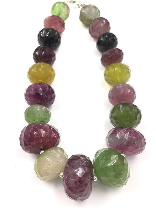 Multi Tourmaline Faceted Beads Size 11 To 18 mm , 293.15 cts 19 Pieces Natural