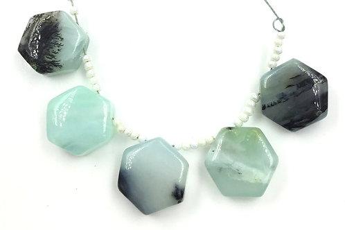Peru Blue Opal Smooth Fancy Hexagon Beads Natural Gemstone Opal Beads