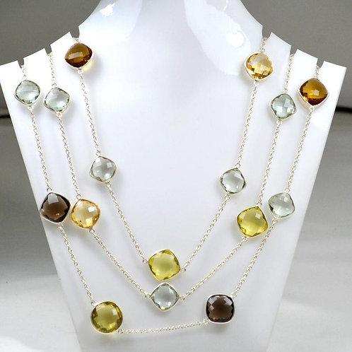 Silver Chain/Necklace 44 '' Semi Multi Amethyst/Quartz Gemstone Faceted Gemstone
