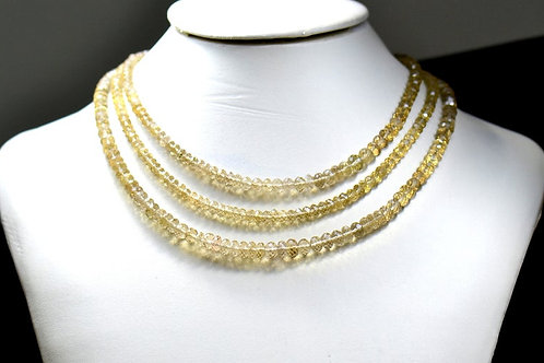 Lemon Quartz - 16'' Brazil Faceted Beads 1 Strand Gemstone Jewelry Beads