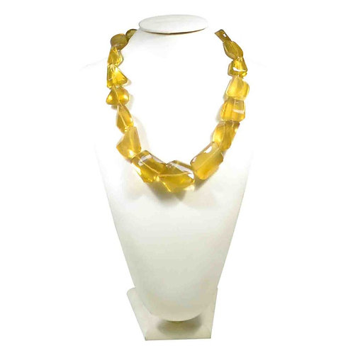 Honey Quartz 16 '' Brazil Faceted Tumble Big Tumble Necklace 1 Strand Natural