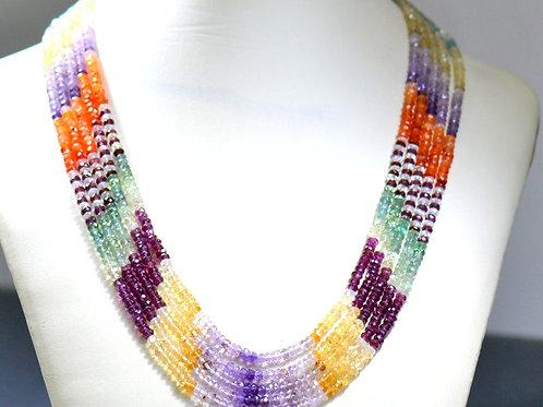 Semi Precious Multi Africa 18 '' 5 Strands Necklace Natural Gemstone Faceted