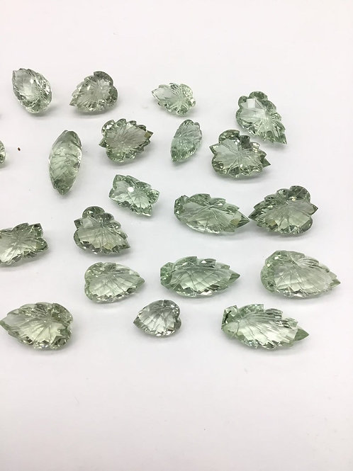 Green Amethyst Carving Fancy Cut Stones 27pieces 263carats