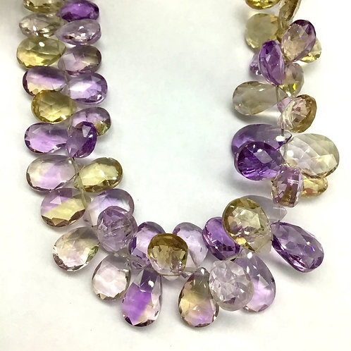 Ametrine Pear Faceted Natural Gemstone 8'' Necklace 1 Strand Ametrine Pear