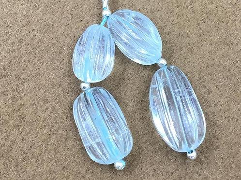 Aquamarine Gemstone Earring Carved Tumble Natural Gemstone