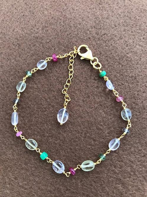 Silver Jewellery 925 Sterling Silver 10.5'' Semi Multi Gemstone Silver Bracelet