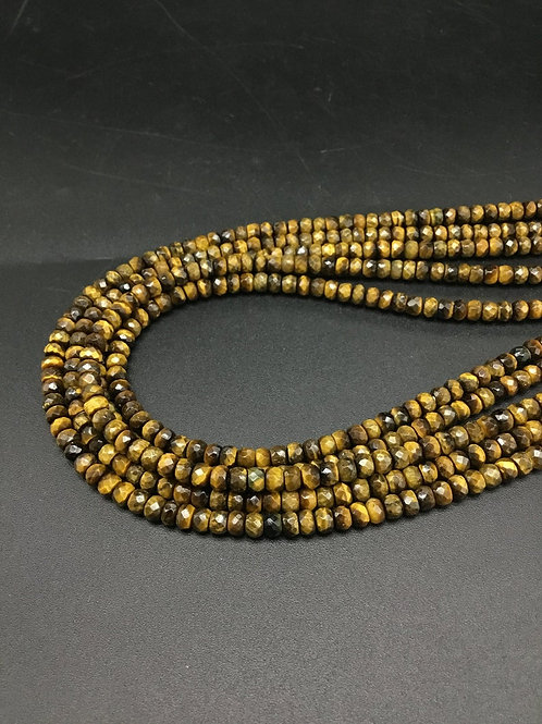 Tiger Eye Faceted Beads Natural Gemstone Necklace 1 Strand Faceted Beads