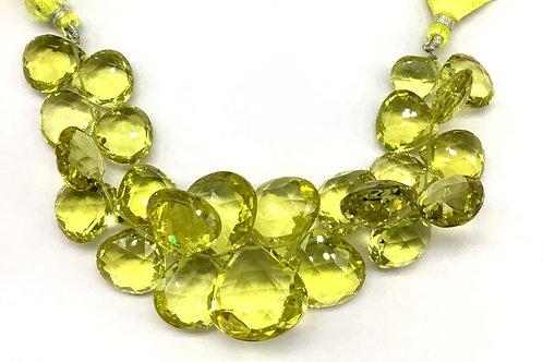 Lemon Quartz Pear Faceted Gemstone Natural Gemstone 8'' Necklace Top Color