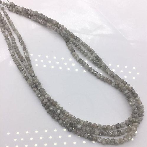 White Uncut Diamond Beads 16 Inches