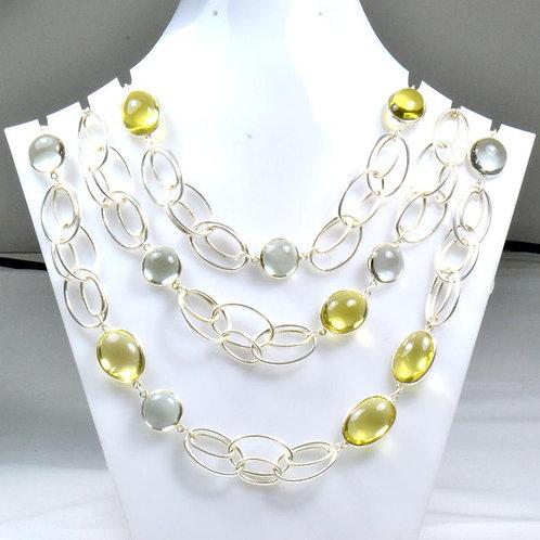 Silver Chain/Necklace 44 '' Semi Precious ( Quartz/Amethyst ) Gemstone Plain