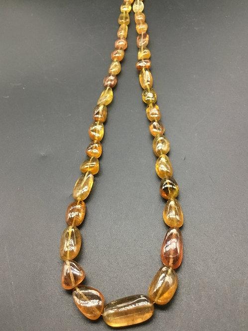 Yellow Tourmaline Plain Tumble 16'' Lock Gemstone Necklace Tourmaline Necklace