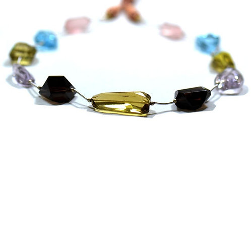 Mixed Gems 16'' - Brazilian Faceted Nuggets ( Tumble ) Gemstone 1 Strand