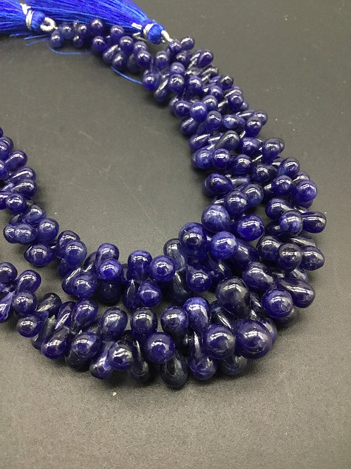 "Blue Sapphire Drops Smooth Gemstone Necklace Lead Filled gems 8""length 1strand"