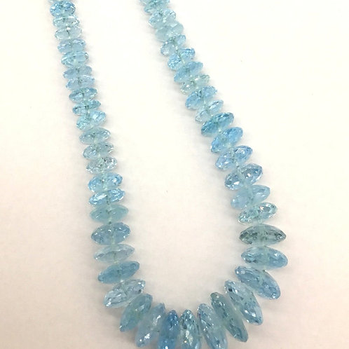 Blue Topaz 16 '' AAA + Quality Faceted Tyre 100 % Natural Gemstone Sky Topaz