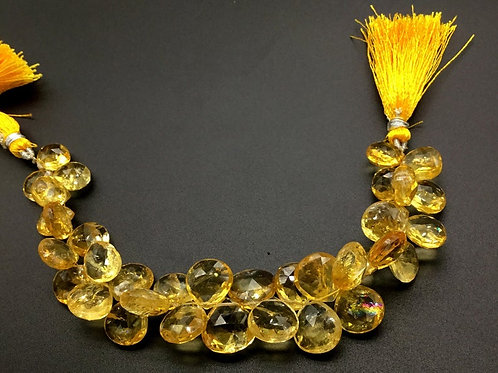 Citrine 8 '' Faceted Pear Natural Gemstone 1 Strand Bead Necklace