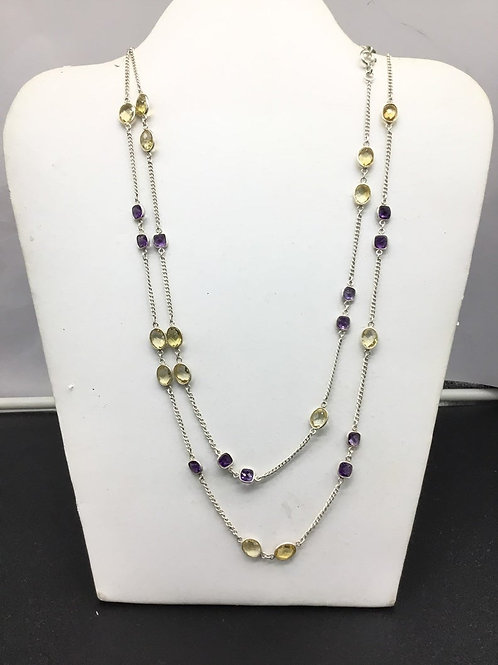 Amethyst & Citrine silver Chain Jewellery Necklace in sterling 925silver 17.22gm