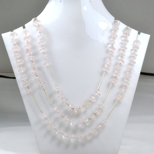 Silver Chain/Necklace 44 '' Rose Quartz Gemstone Faceted Tyre Gemstone