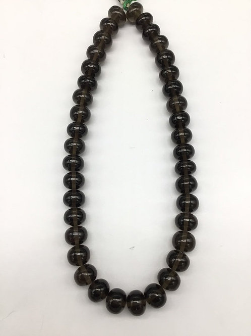 Smoky 13 '' Smooth Beads 1strand 308carats size-11MM 1 Strand Natural Gemstone
