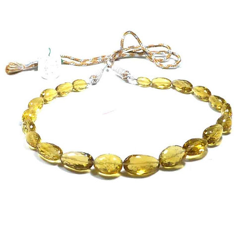 Necklace 16 '' Honey Quartz Brazil Faceted Tumble 1 Line Set  Handmade Natural