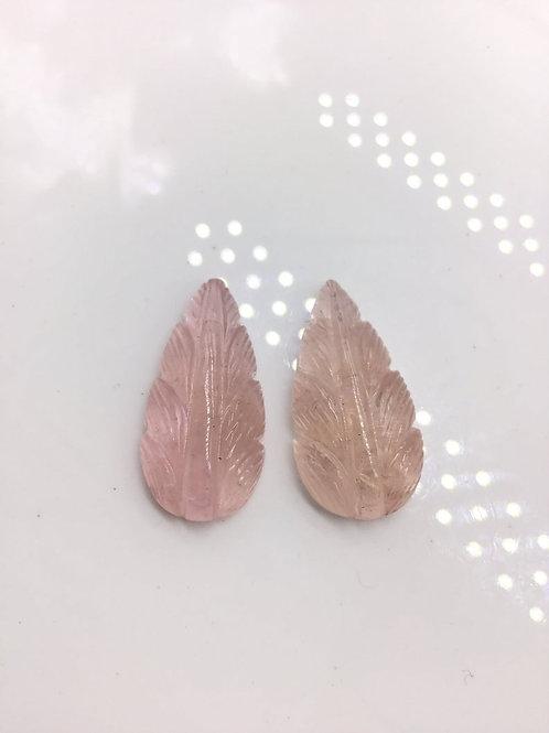 Morganite Gems Carved Pair Natural Morganite Gemstone , Perfect for Jewelry