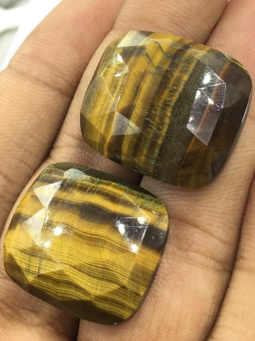Tiger Eye Natural Gemstone Faceted Cushion Tumble Size 24 To 28mm , 92.25 Ct