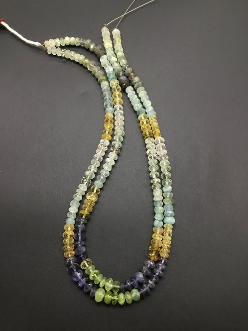 Multiple Mixed Gems Faceted Beads Natural Gemstone Necklace 16''