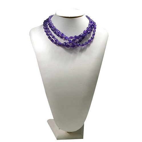 Amethyst - 16'' Africa Faceted Oval 1 Strand Gemstone  Jewelry Beads