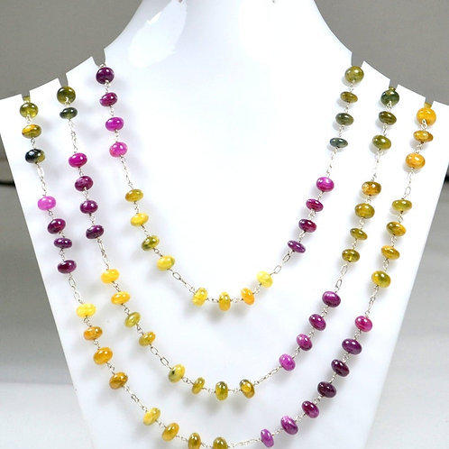 925 Sterling Silver Ruby + Yellow Sapphire Silver Chain 44 '' 60.36 G.M