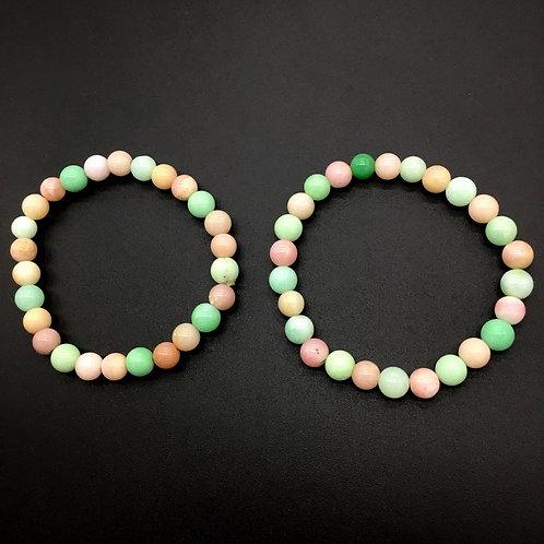 Multi Bracelets Pink Opal + Chrysoprase , Bead Bracelet , Beautiful Bracelet