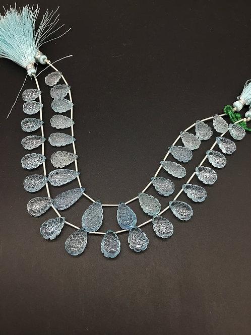Sky Blue Topaz 8 '' Top Quality Carving Natural Gemstone Necklace 97 Ct 1 Strand