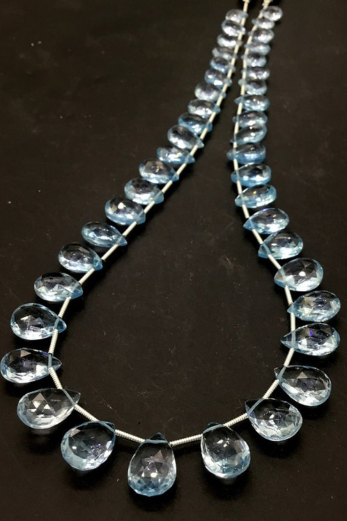 Blue Topaz Faceted Pear Natural Gemstone 16 '' Necklace 1 Strand Top Quality