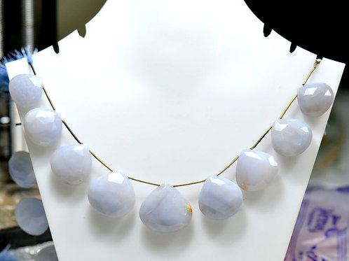 Blue Chalcedony  - 8'' Africa Faceted Pear 1 Strand Gemstone Jewelry Beads