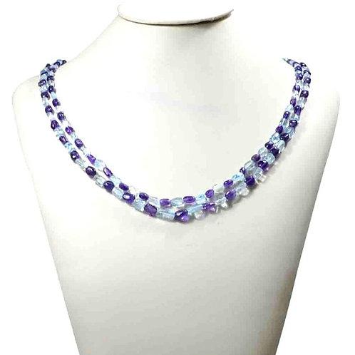 Necklace 16 '' Semi Multi ( Amethyst + Blue Topaz ) Brazil Smooth Tumble