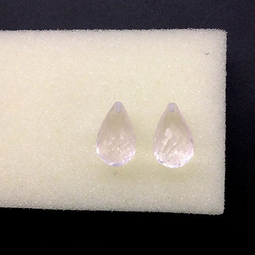 Rose Quartz Half Drilled Faceted Drops 100 % Natural Gemstone 2 Pieces Beads
