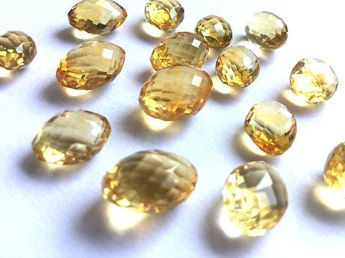 Lemon Quartz Faceted Ovals Shape Gemstone Quartz Natural Gems For Jewelry Making