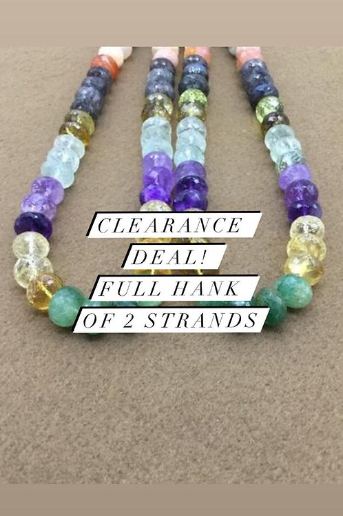 Closeout Sale price Semi multi Faceted Beads 2 strands full hank wholesale