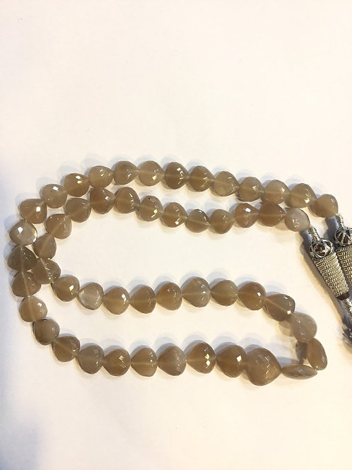 Chocolate Moonstone 16 '' Faceted Heart Drops Natural Gemstone 1 Strand Necklace