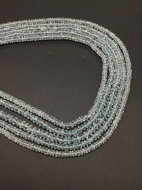 Aquamarine Beads Faceted Natural Gemstone necklace, Beaded Necklace Aqua 14''