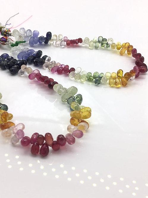 Sapphire Gems Drop shape Mixed Sapphire gemstones Pink sapphire , Green ,Yellow