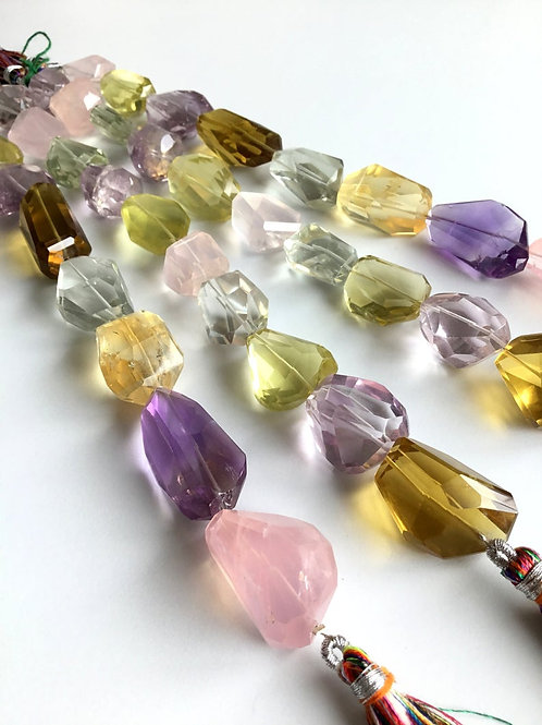 FULL HANK !! Multiple Mixed Gems Faceted Tumble 4 Strand Natural Gemstone
