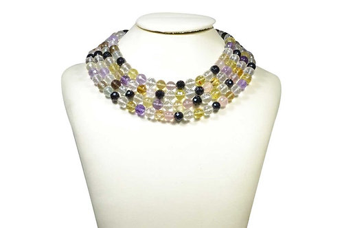 Multiple Mixed Gems - 16'' Africa Faceted Ball 1 Strand Gemstone Jewelry