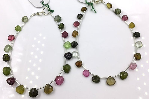Tourmaline Pear Beads Faceted Multi Tourmaline Colours 57 carats