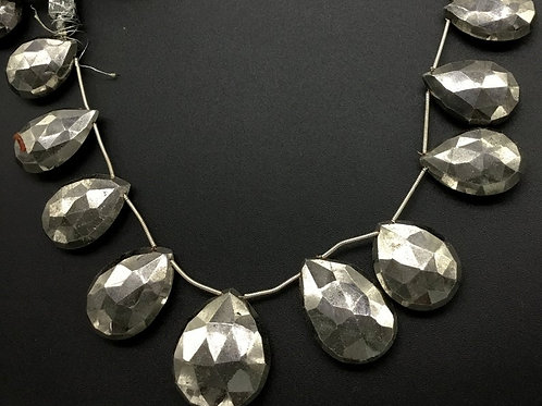 Silver Pyrite 8 '' Faceted Almond 1 Strand Natural 580 Ct Gemstone Bead Necklace