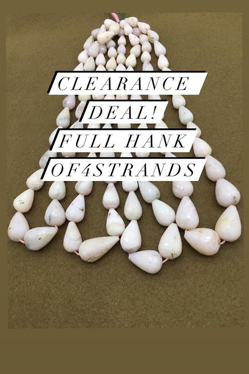 Closeout Sale price Pink Opal Plain Balls 4 strands full hank wholesale closeout