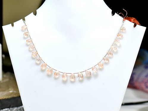 Sunstone ! 8'' Africa Faceted Pear 1 Strand Gemstone Natural